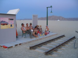 Burners wait for the train at the Trainspotting art project, Burning Man 2005